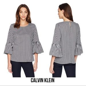 Calvin Klein Gingham Bell Sleeve Top